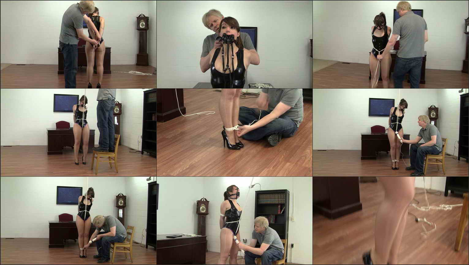 He grabs another rope tying it to the hook that he recently had installed  in his office and attaches the rope to Elizabeth's crotch rope pulling it  taught…