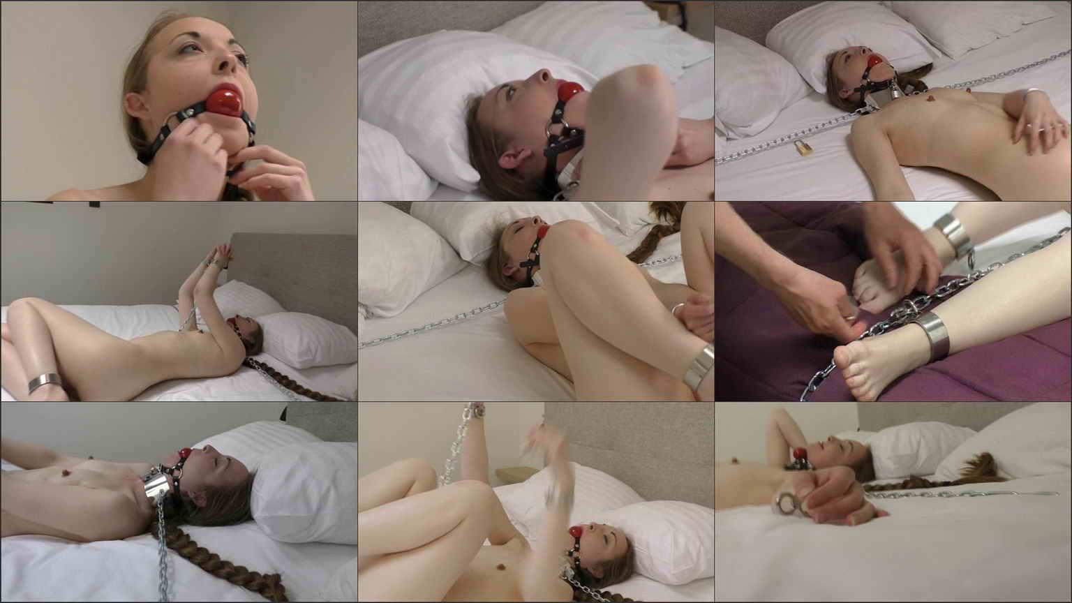Ballgagged self bondage with nipple weights 5