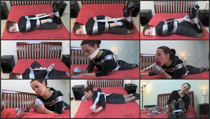 Cherry Doll duct tape hogtie escape.mp4