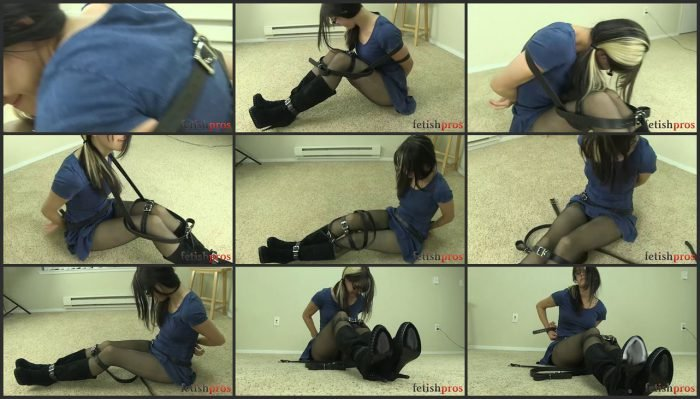 Katt Anomia Belt Bondage Struggle Dress, Stockings and Boots.mp4