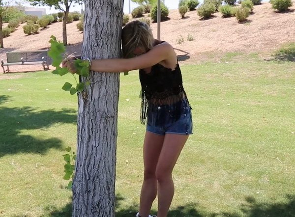 Handcuffed to a tree on a walking trail 4