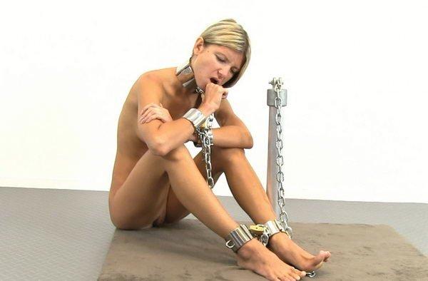 image Tied slave helpless in hotel hallway