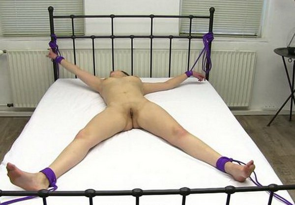 Naked girls bound spread eagled