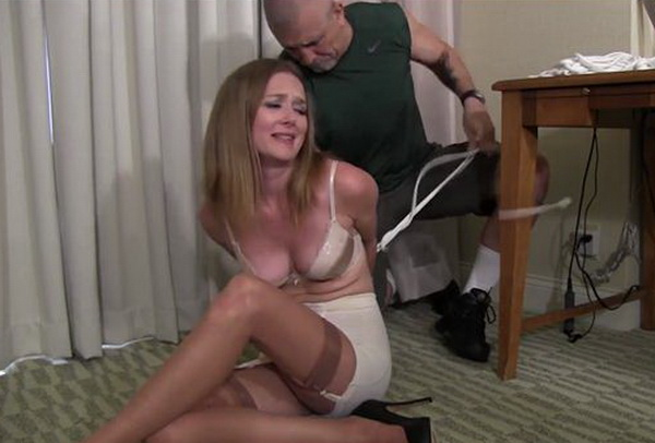 Teen bound to chair orgasm and horny