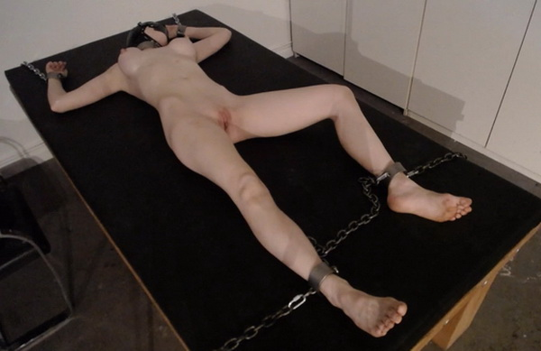 Ballgagged girl gets hooded and chained hogtied